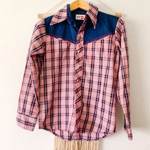 Vintage Wrangler Western Style Snap Button Up